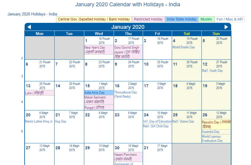 January 2020 Calendar with Holidays USA UK India Canada