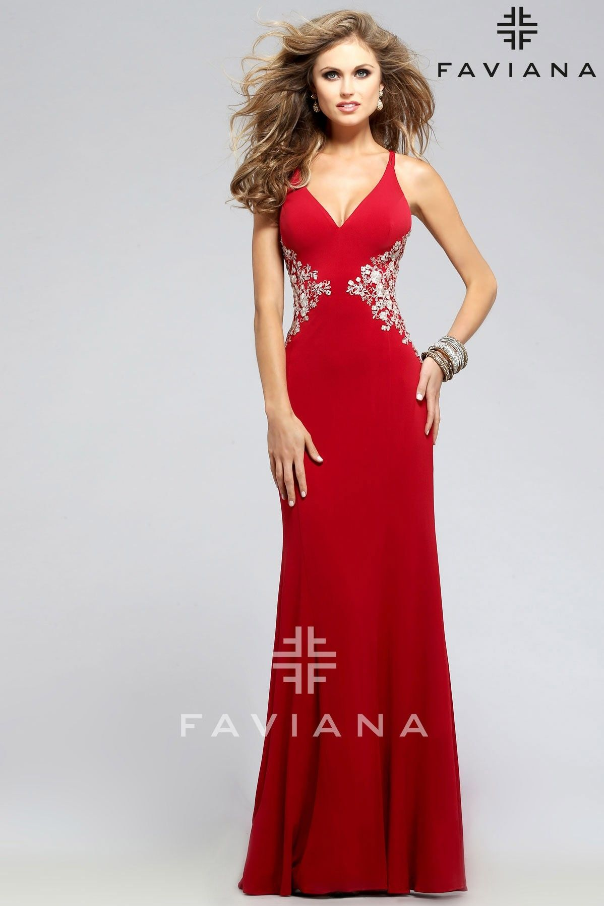 bc77ec2e2ad Faviana Jersey v-neck with lace applique and lace-up back - Prom Dresses  2016