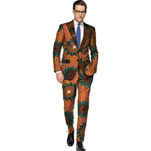 African Print Blazer Und Hose 2 Stück Set Männer Blazer