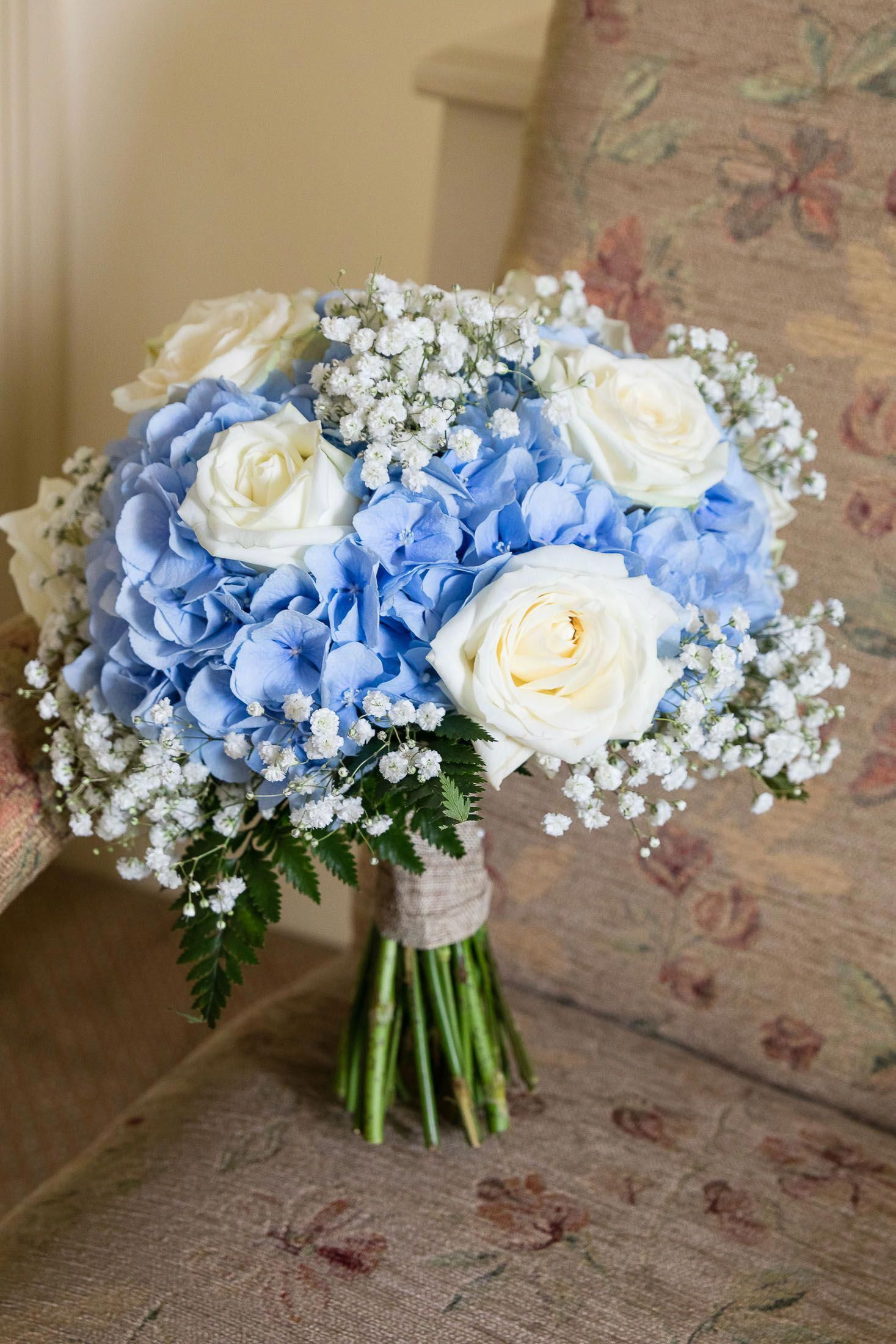 Brooklodge Wedding Bride Bouquet Blue And White Roses And Hydrangeas Blue Wedding Bouquet Hydrangeas Wedding Blue Wedding Flowers