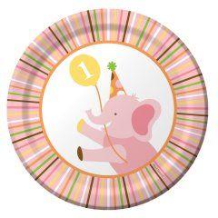 Sweet Safari Pink 1st Birthday Dessert Plates