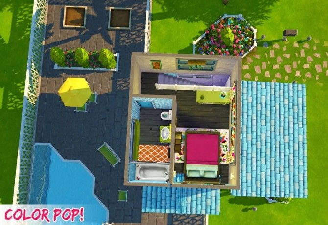 CC Free Tiny And Bright House With A Pool And Space To Garden In The Back  Yard! This House Is CC Free But Does Require Some Of The Expansion, Stuff  And Game ...