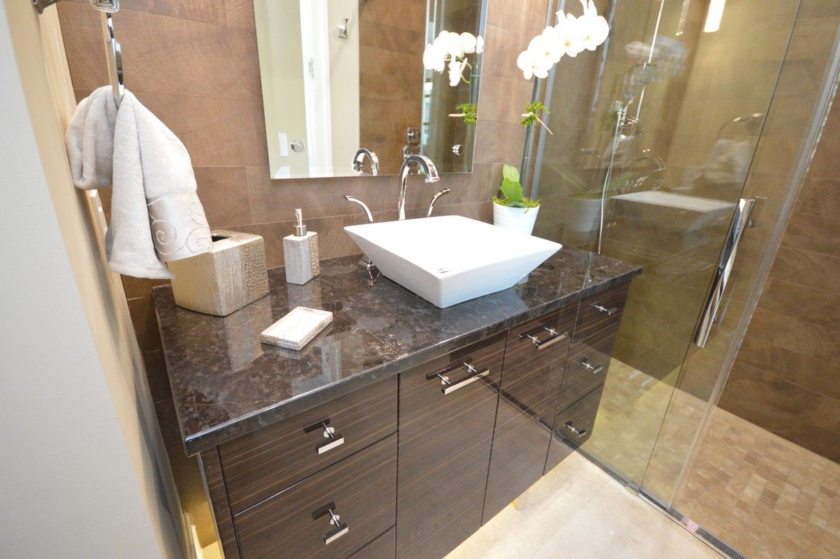21 U2013 Bathroom Design Using Black Granite Bathroom Vanity Tops  Including Square White Ceramic Above Counter Bathroom Sink (1203×800)