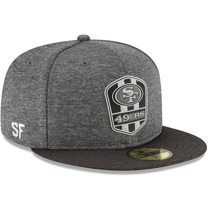 fda737e5b08ccf cheap san francisco 49ers new era 2018 nfl sideline road black 59fifty  fitted hat heather gray