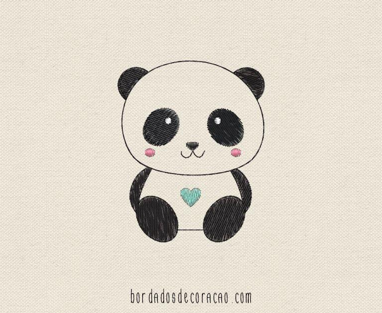 Ursinho Panda Panda Fofo Maquina De Bordar E Panda Desenho