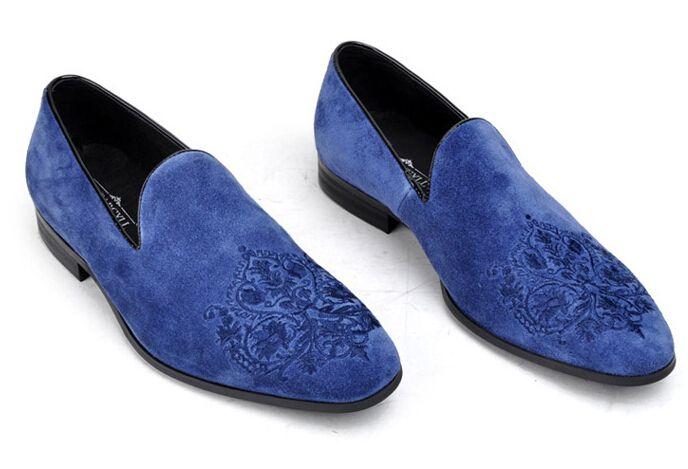 Men Velvet Loafers Slippers Blue Paisley Emboidered Shoes