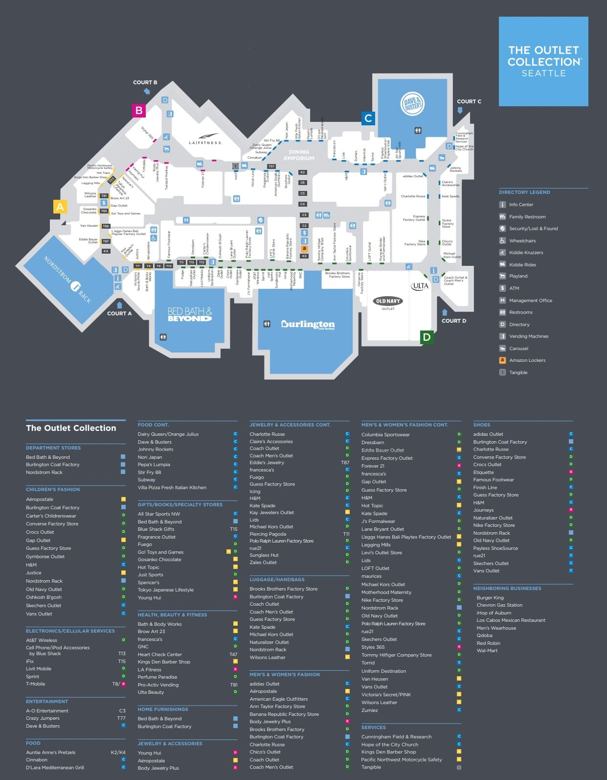 The Outlet Collection Seattle shopping plan | Mall maps ... on emergency operations center, shopping center, satellite center,
