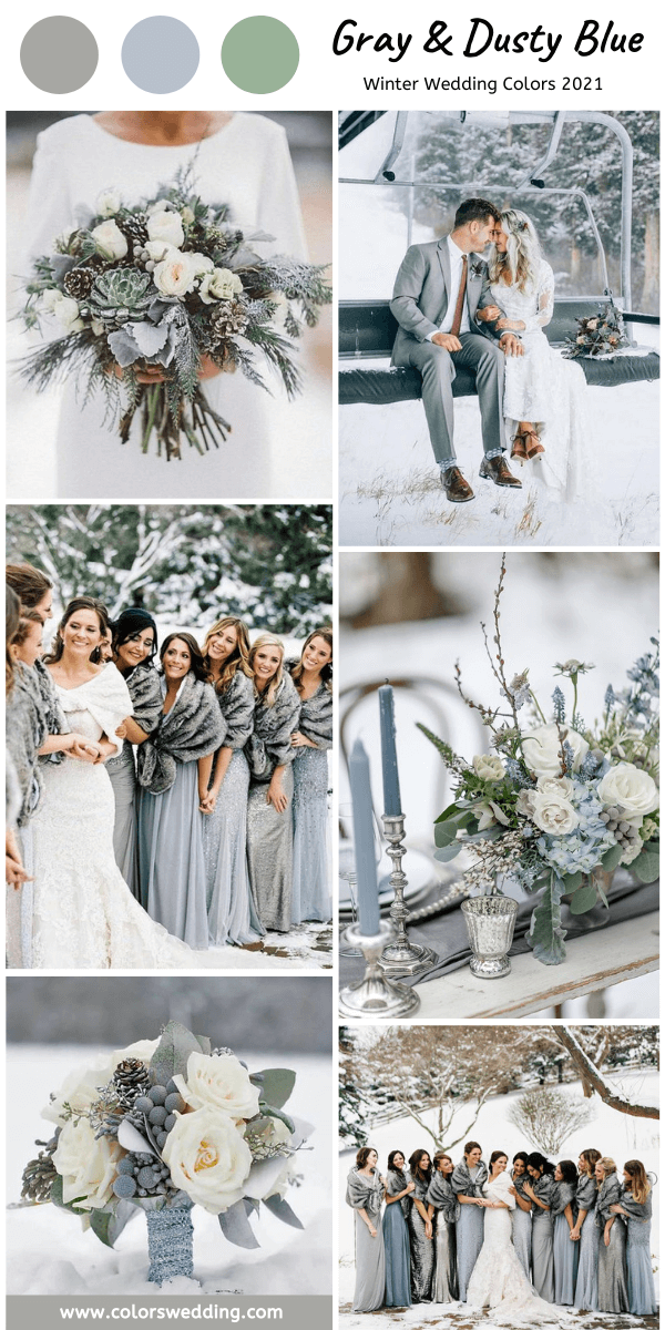 Winter Wedding Color Palettes For 2021 Gray And Dusty Blue Wedding Trends Winter In 2020 Blue Winter Wedding Winter Bridesmaid Dresses Winter Wedding Bridesmaids