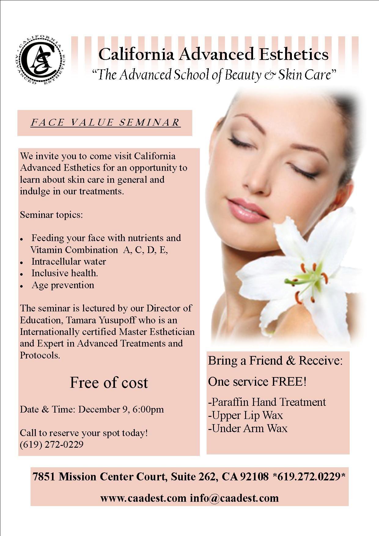 California Advanced Esthetics invites you to our FREE skin ...