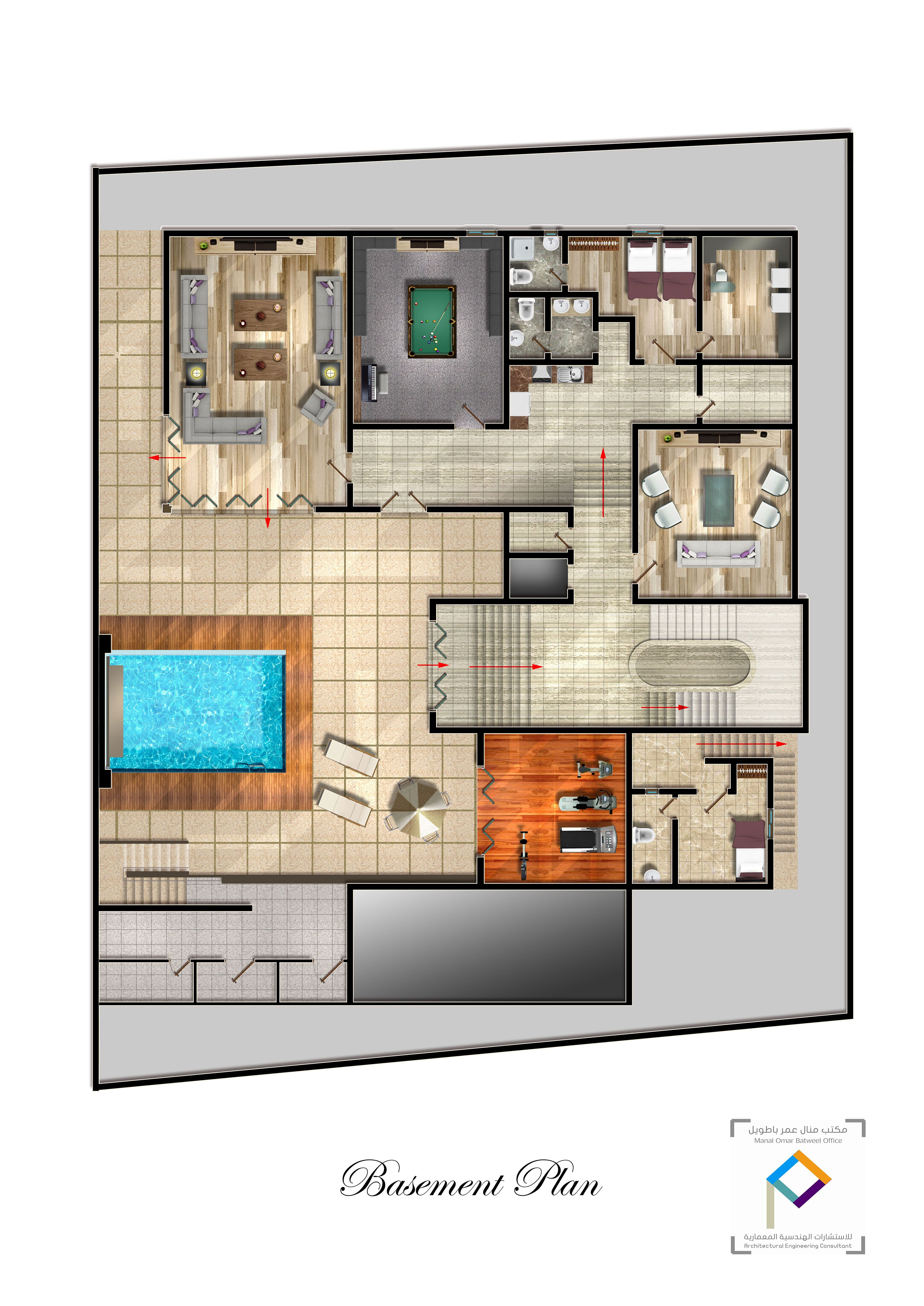 Basement Floor Plan Swimming Pool Modern House Plans Pool House Plans House Flooring