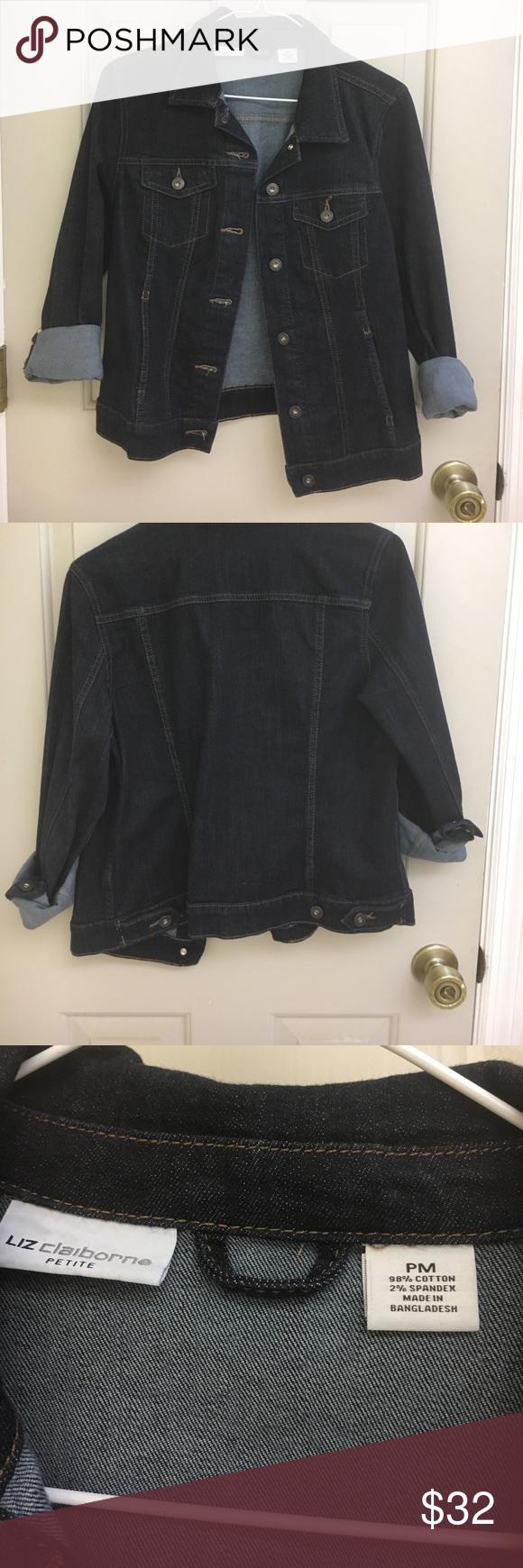 Dark jean jacket! Liz Claiborne dark jean jacket. It is petite medium. Lightly worn. I am selling it because a got a new one. Liz Claiborne Jackets & Coats Jean Jackets