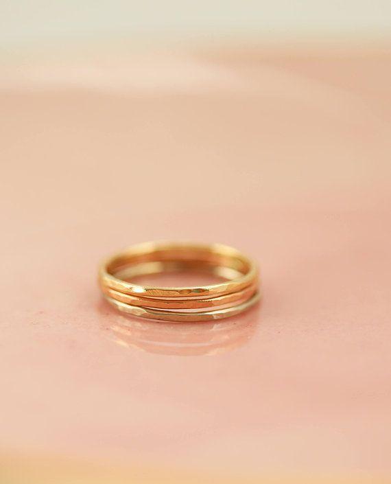 Stacking Rings Gold Ring Mom Gift Name Ring Set Gift For Mom