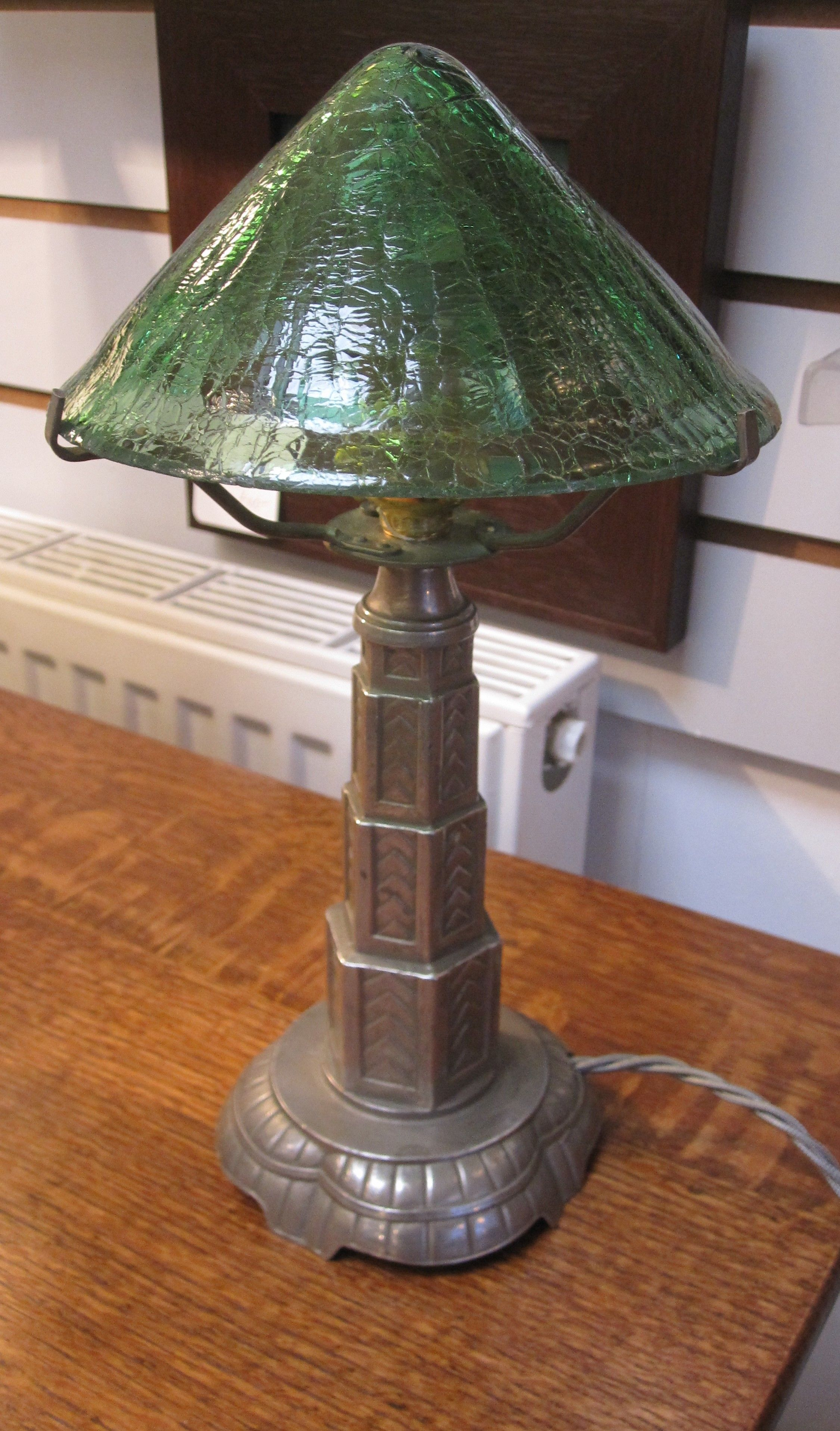 French pewter base table lamp