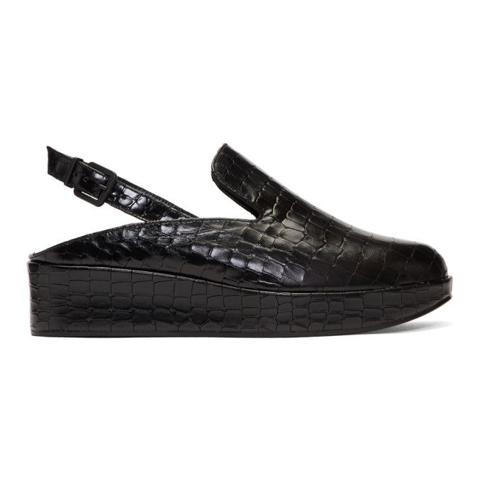 Clergerie Black Croc Nalice Platform Slippers 2nBRYTyH