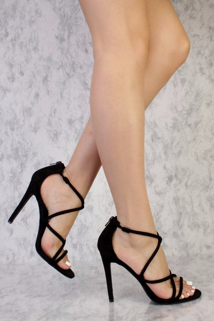 7122609fb73 Black Suede Strappy Criss Cross Heels - Must Have Shoes and More