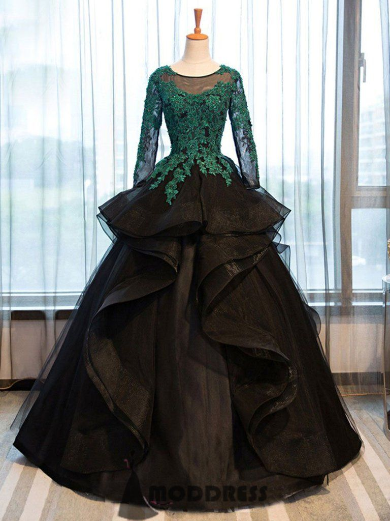 Applique long prom dresses green black long sleeve ball gowns