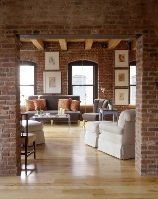 Living area - rustic brick contrasted with sharp maple flooring