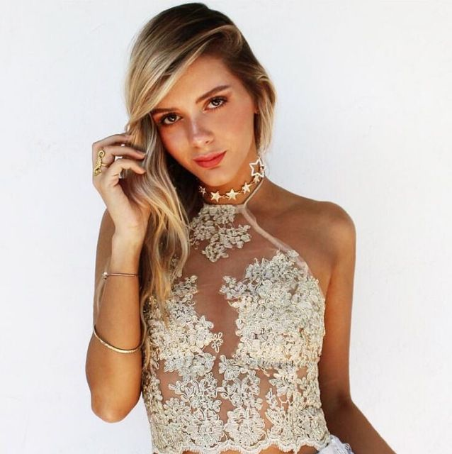 ab7e24fdabc001 JeVenis Women s Halter Neck Tank Gold Crop Top Sleeveless Lace Vest  Embroidered