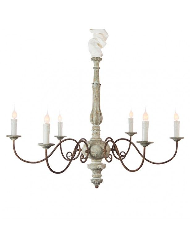 Avignon Chandelier Blue Cream 28hx36w, Catania Vintage French Country Wood 6 Light Chandelier