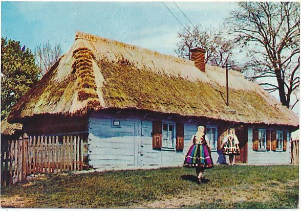 Stroj Lowicki Lowiczanki Chata Lowicka Zlakow Kos 3541918330 Oficjalne Archiwum Allegro Watercolor Landscape Paintings Vernacular Architecture Polish Folk Art