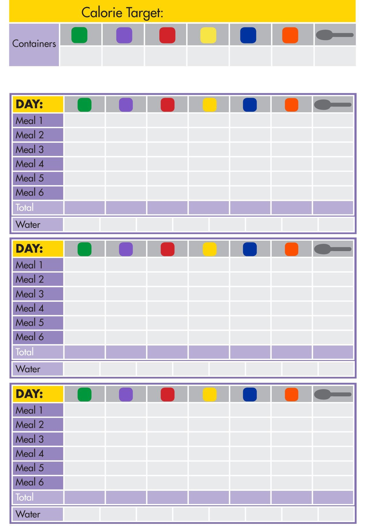 Functional 21 Day Fix Worksheets