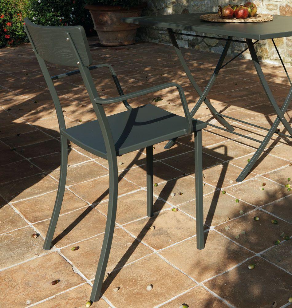 Gartenstuhl Mogi Mit Armlehnen Holz Metall Metallstuhle
