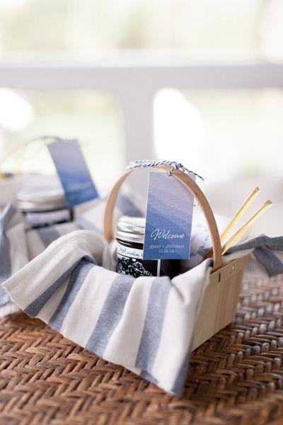 blue + white welcome basket | Sara Petras #wedding | Southern ...