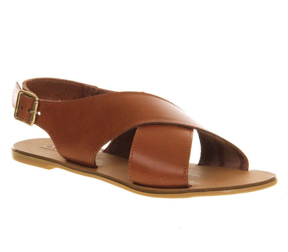 Womens Office Hush Cross Strap Sandal TAN LEATHER Sandals