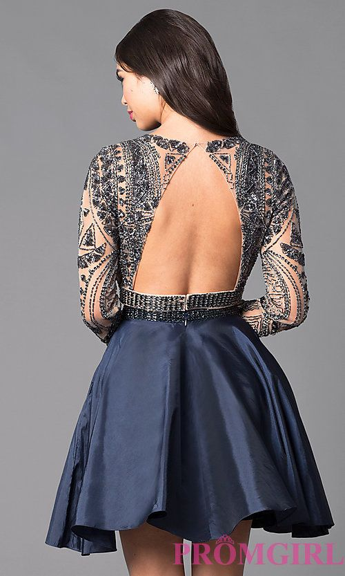 00a292fbae30 Image of two-piece short open-back homecoming dress. Style: SH-50693 Back  Image