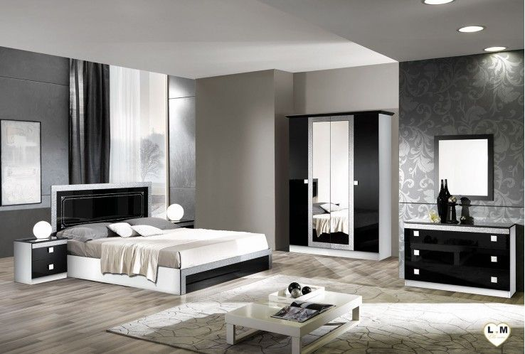 Brazilia laqu noir et blanc ensemble chambre coucher ensemble chambre a coucher adulte - Chambre a coucher noir et blanc ...