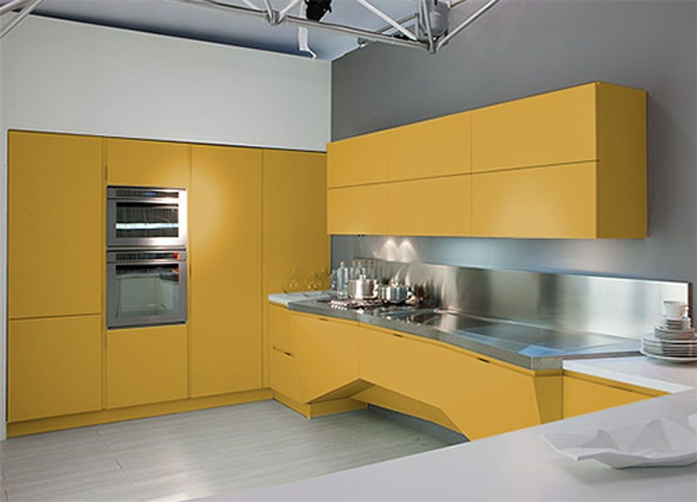 Futuristic Kitchen Design Florida Gold Color Idea
