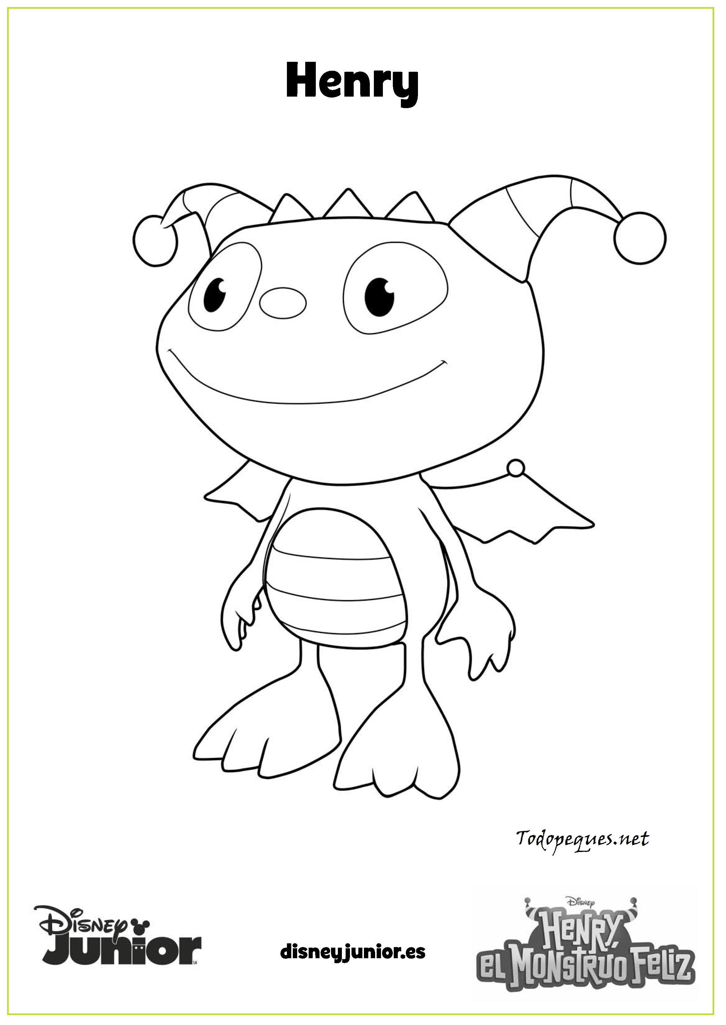 Henry El Monstruo Feliz Henry Imprime Y Colorea Page 001 Dibujo De  # Muebles Dibujos Para Colorear