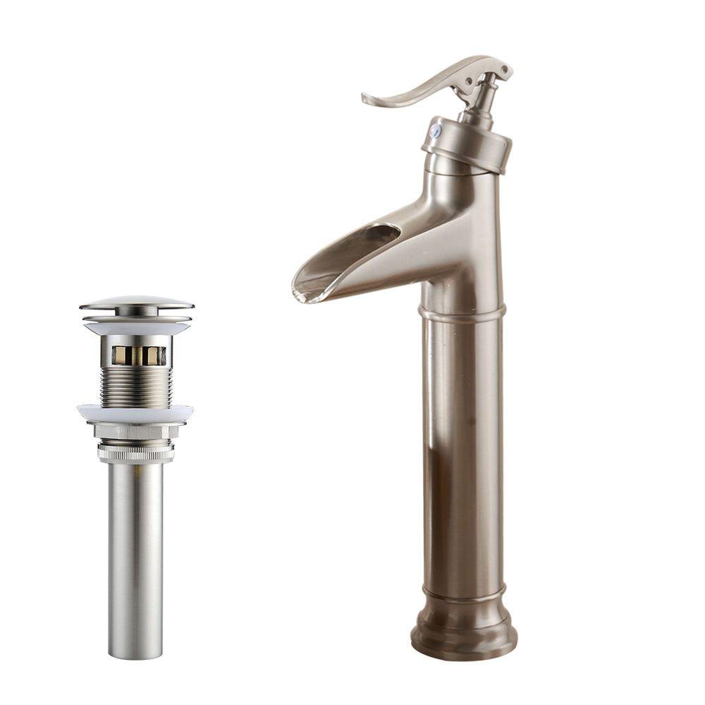 Tall Brushed Nickel Waterfall Bathroom Sink Vessel Faucet Mixer Tap Free Drain Evatap Vessel Faucets Mixer Taps Bathroom