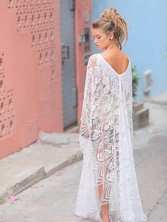Kimono Lace Dress Beach Wedding Honeymoon Bridal Maxi Dre