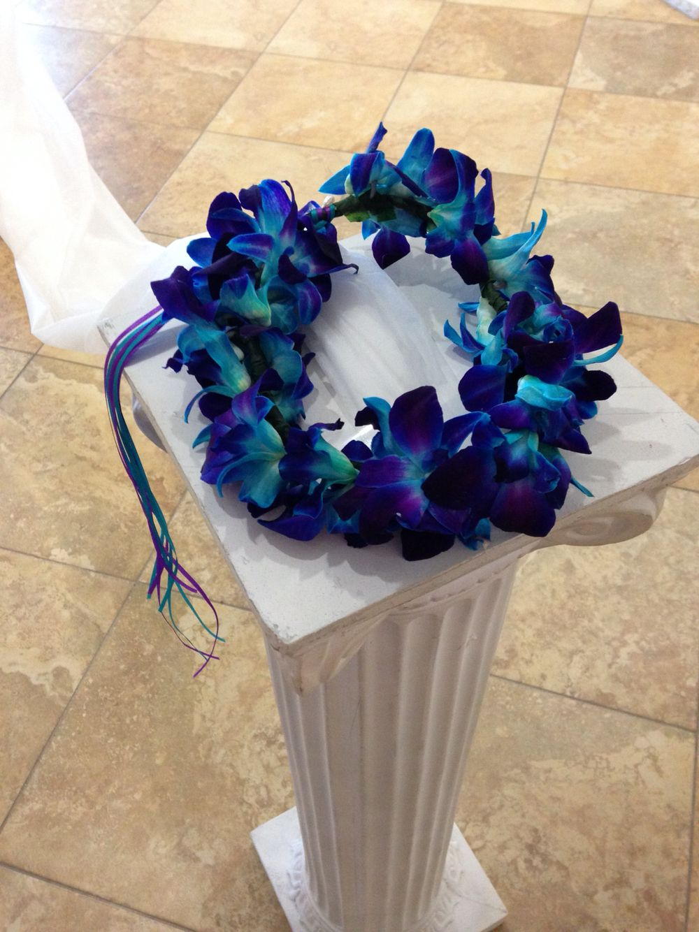Purple and blue dendrobium orchid headpiece flowers i made