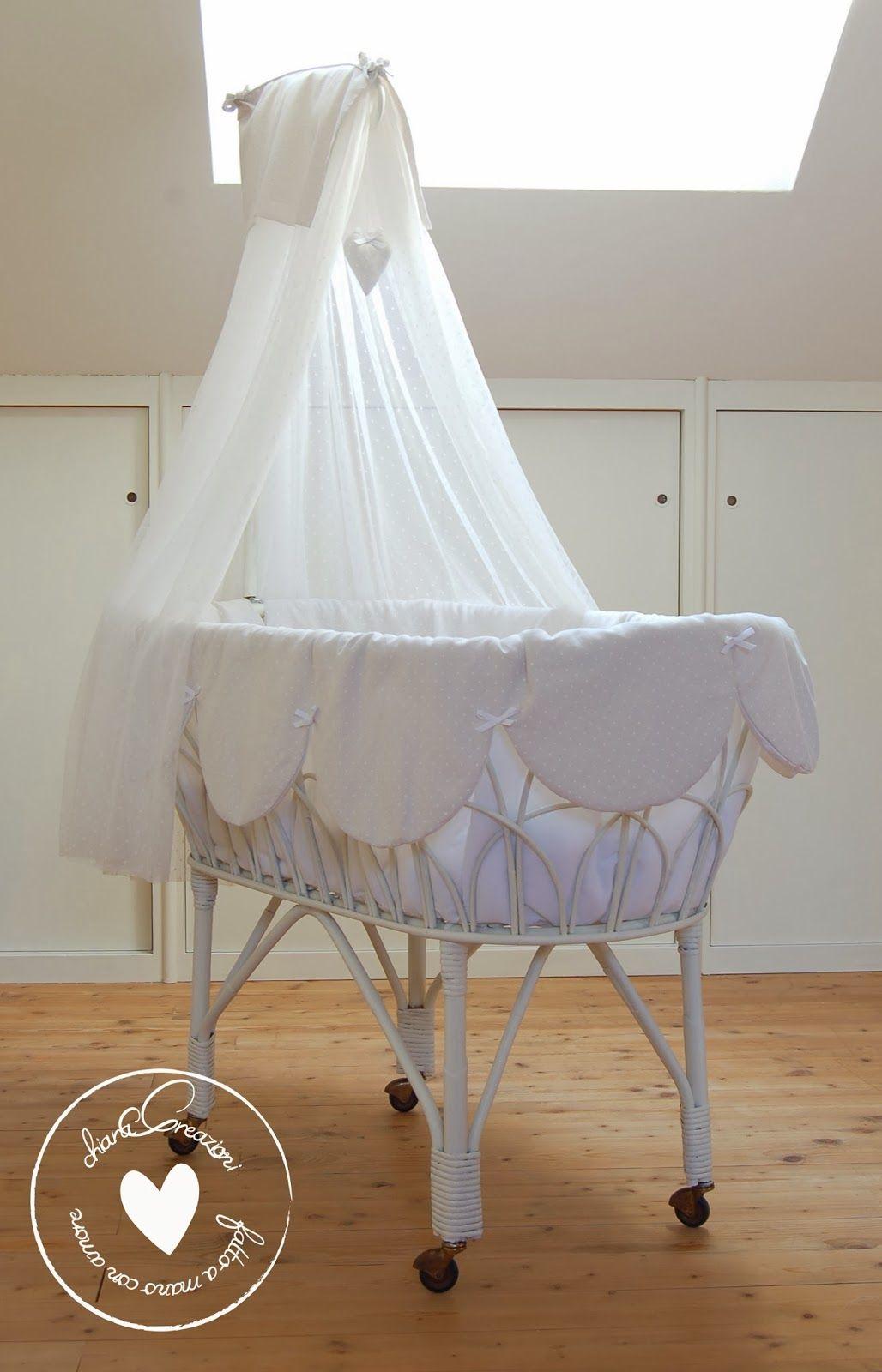 Culla Vimini Rivestimento Tessuto Bassinets Lovely Cribs