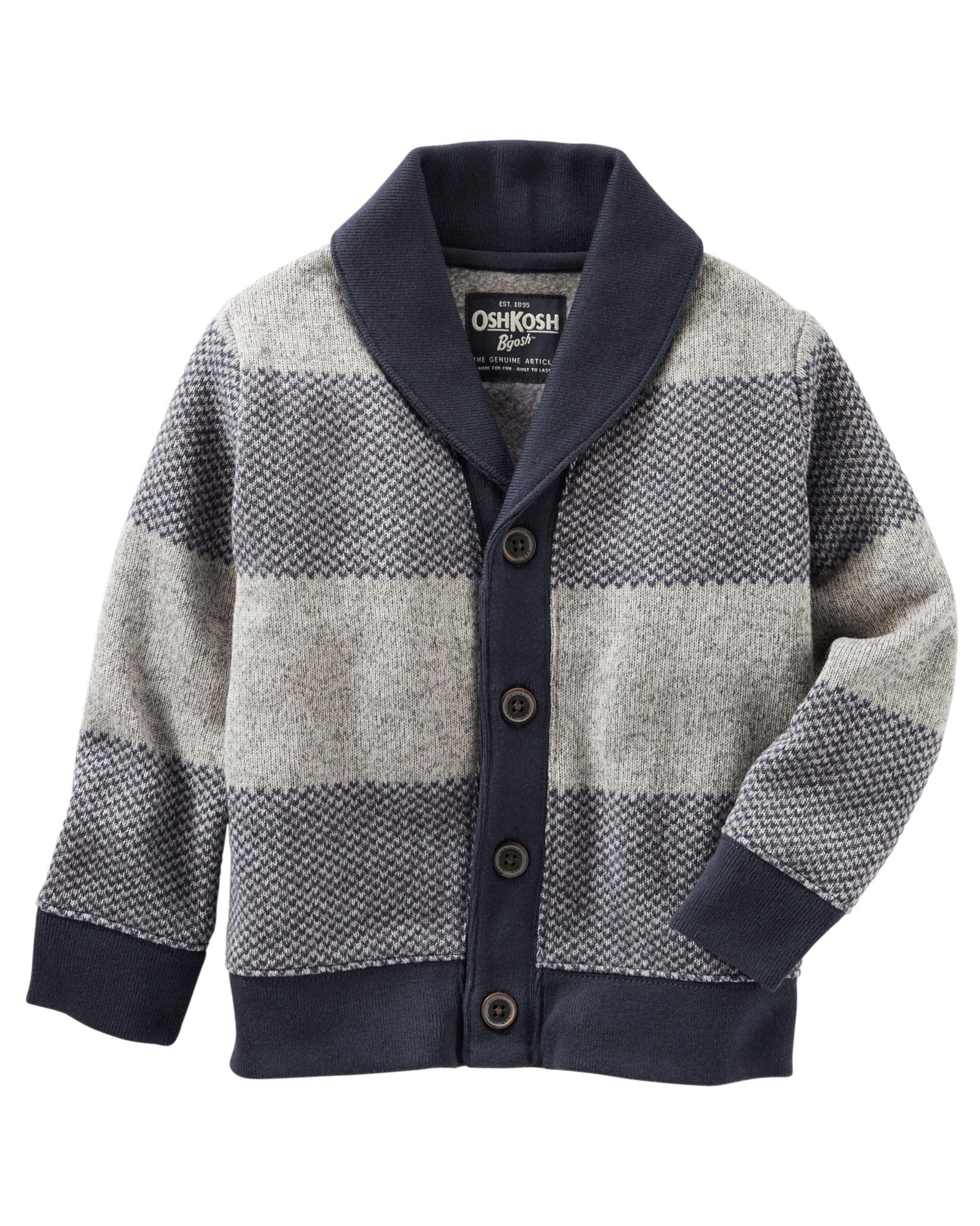 Toddler Boy Sweater Fleece Shawl Collar Cardigan Oshkoshcom