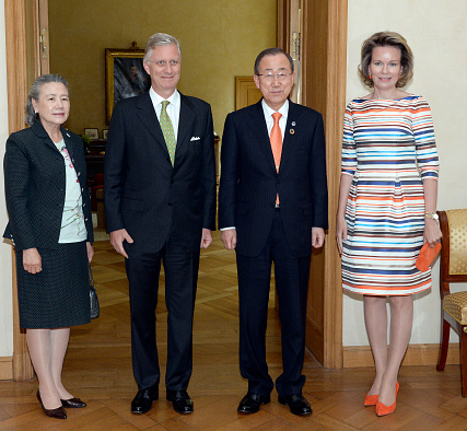 UN Secretary General Ban Ki-moon (R), King Philippe of Belgium, (2L), Queen Mathilde of Belgium, (R) and Ban Ki-moon's wife Ban Yoo Soon-taek, (L) pose prior to a dinner at the Royal Palace in Brussels, on June 15, 2016.
