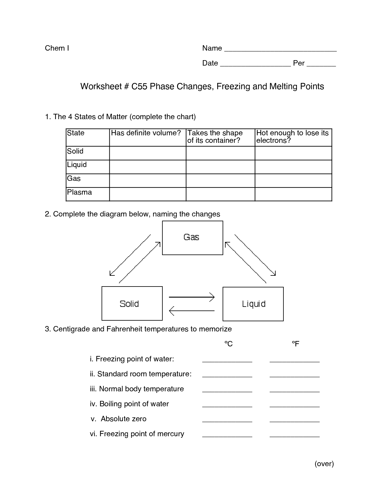 States Of Matter Phase Changes Worksheet