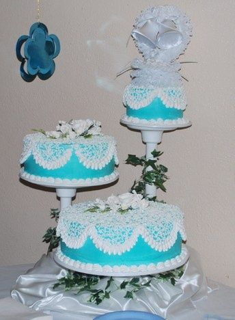 cheap three tier wedding cakes in turquoise and lime green