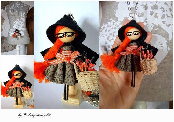 Collar de muñeca caperuza naranja por Delafelicidad en Etsy