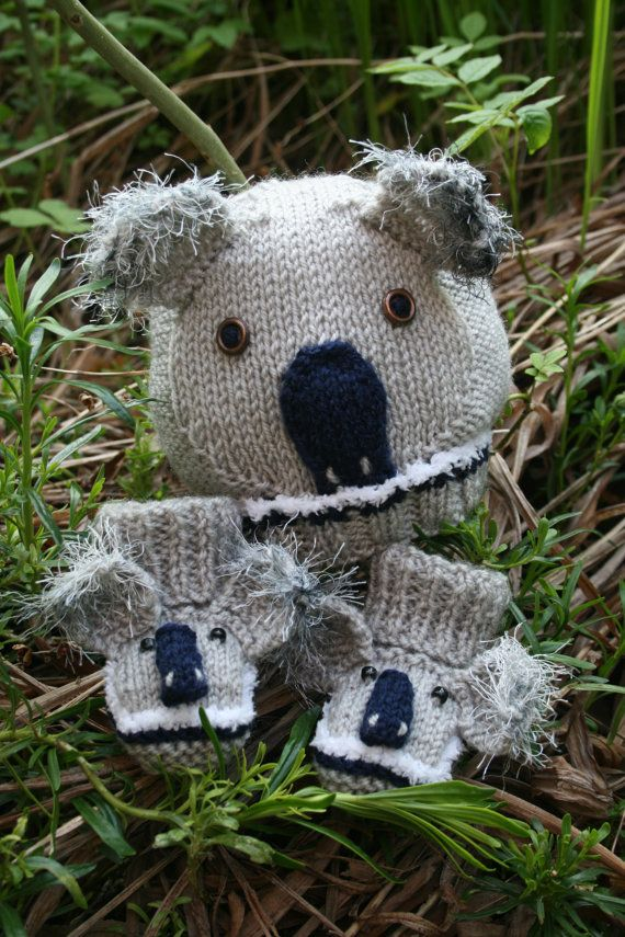 Baby Knitting Pattern In Pdf Koala Bear Baby Hat And Booties