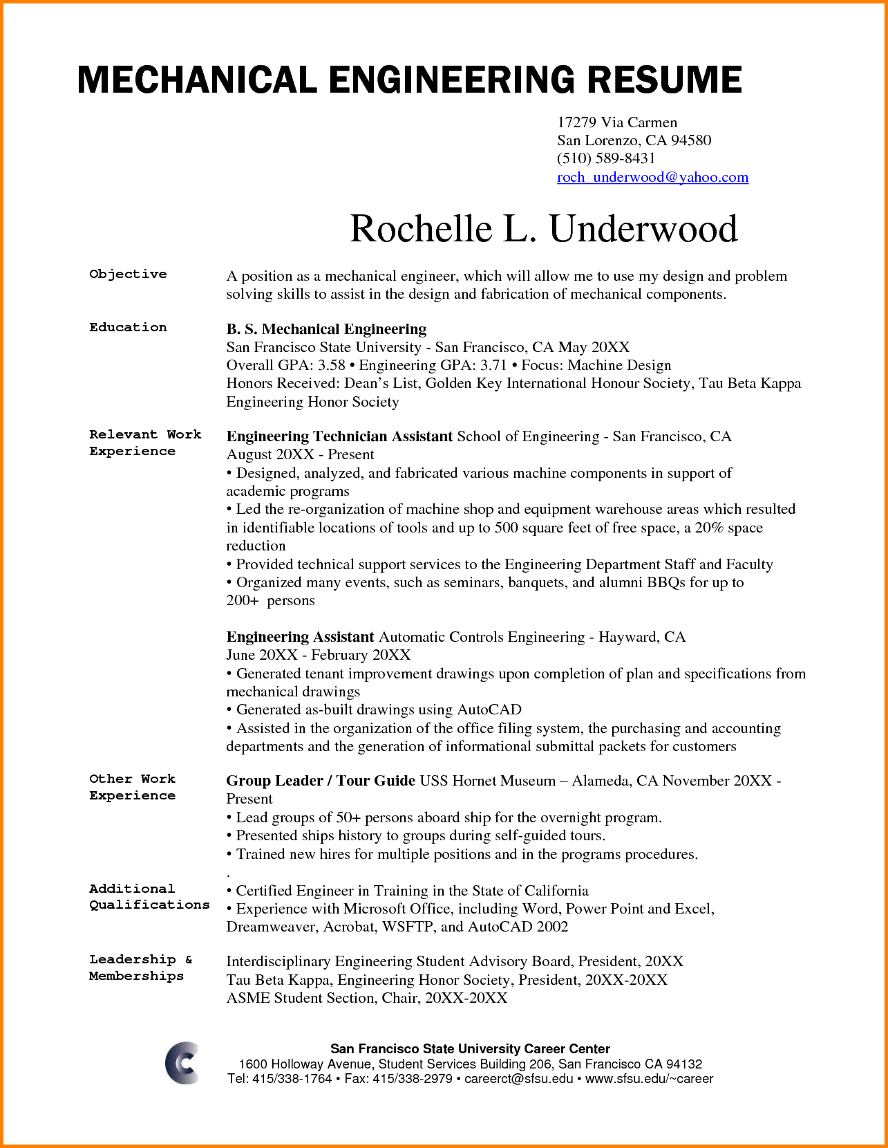 Mechanical Engineering Resume Objective Free Resume Templates