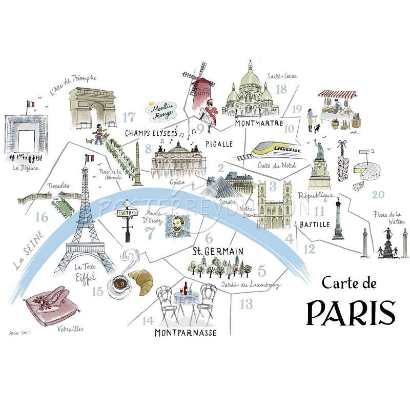 Alice Tait Map Of Paris Art Poster Collection Illustrations Of