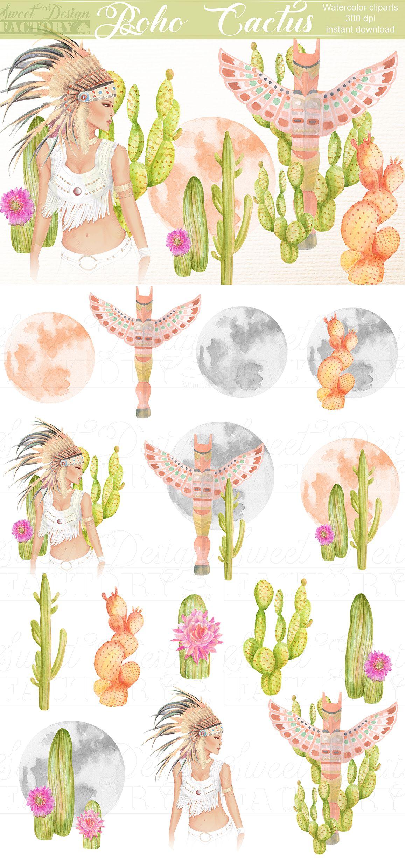 Clipart De Cactus A L Aquarelle Boho Clipart Lune Aquarelle Native Clipart Mystique Clip Art Plume Clipart Lune Clipart Indien Watercolor Moon Clip Art Digital Art Prints