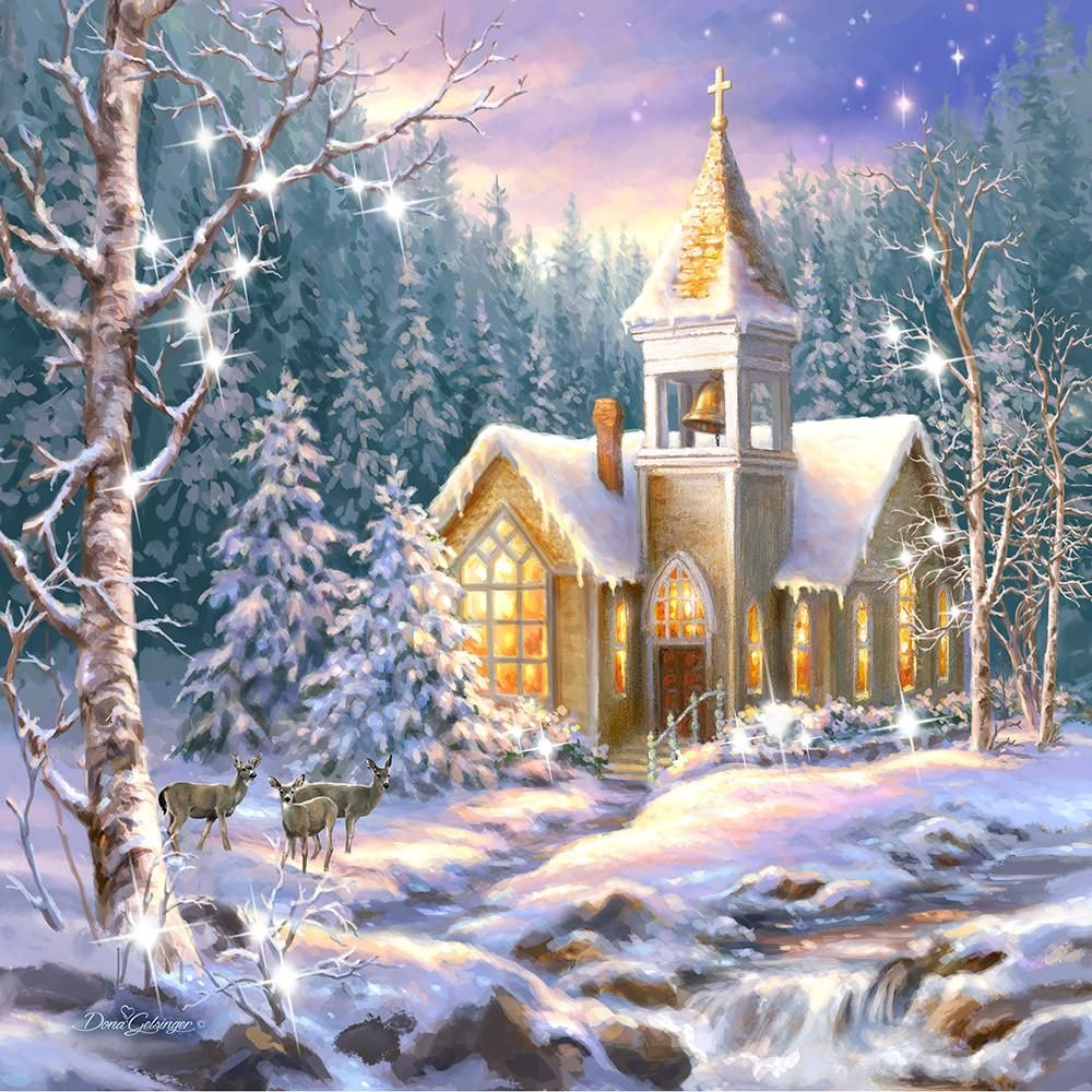 Christmas Chapel Pizazz Print With Genuine Swarovski