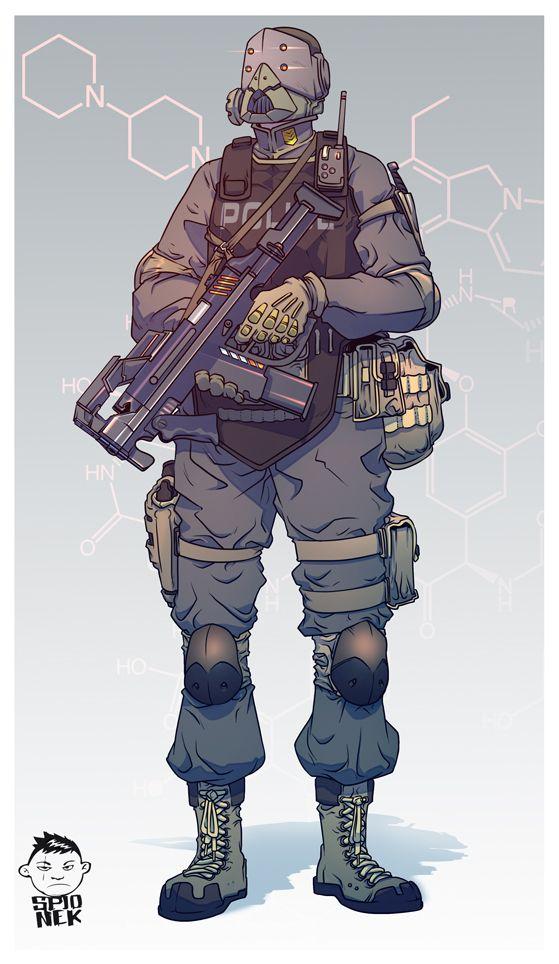 Concept Art Character Design Tutorial : Mikolaj spionek police concept art by mikolajj