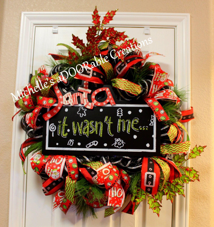 christmas wreath santa wreath santa traditional christmas wreath christmas deco mesh wreath by