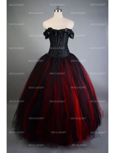 d36242ca62630 Romantic Black and Red Vintage Gothic Corset Long Prom Dress ...