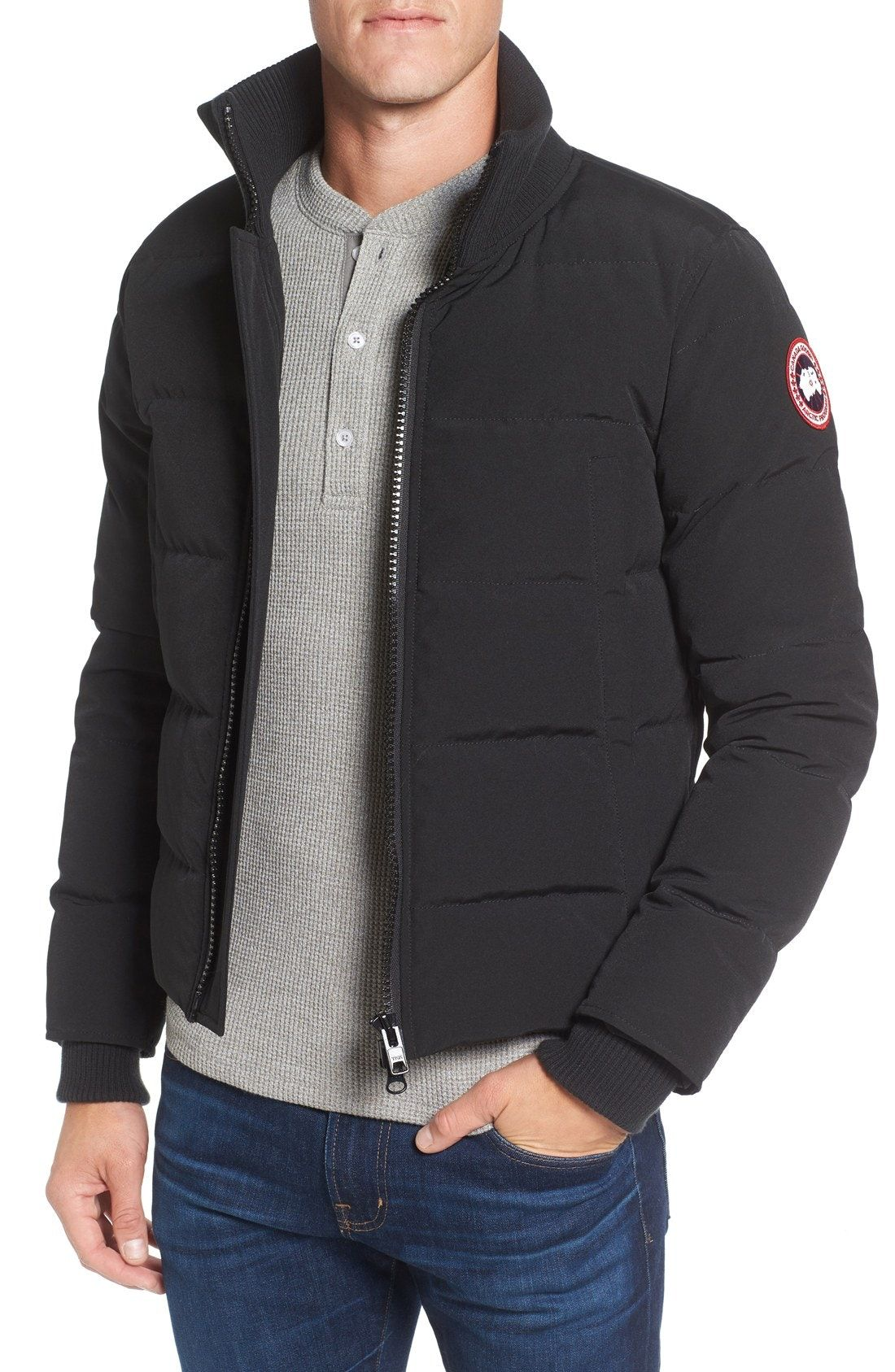 New Canada Goose 'Woolford' Down Bomber Jacket ,BLACK